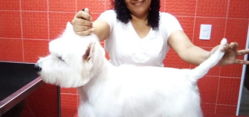 Aluna Rosália Aurora na Especialização de Hand Stripping